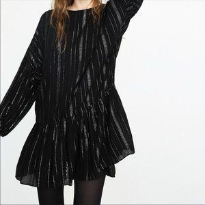 NWT Zara Black dress with silver stripes
